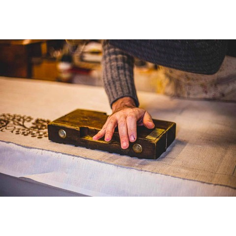 Ręcznie drukowany artystyczny obrus Unikalny kawałek włoskiego rzemiosła - marki