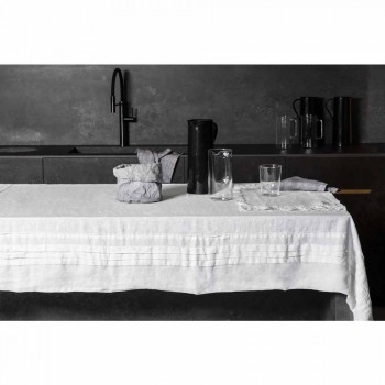 Biały lniany obrus z włoskim luksusowym plisowanym motywem - Tippel