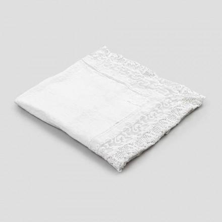 Kwadratowy lniany obrus z koronkowym białym luksusowym wzorem Made in Italy - Olivia