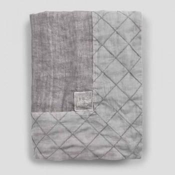 Antracytowy lniany obrus i lamówka z geometrycznym dekorem, ręcznie robiony - Dippel