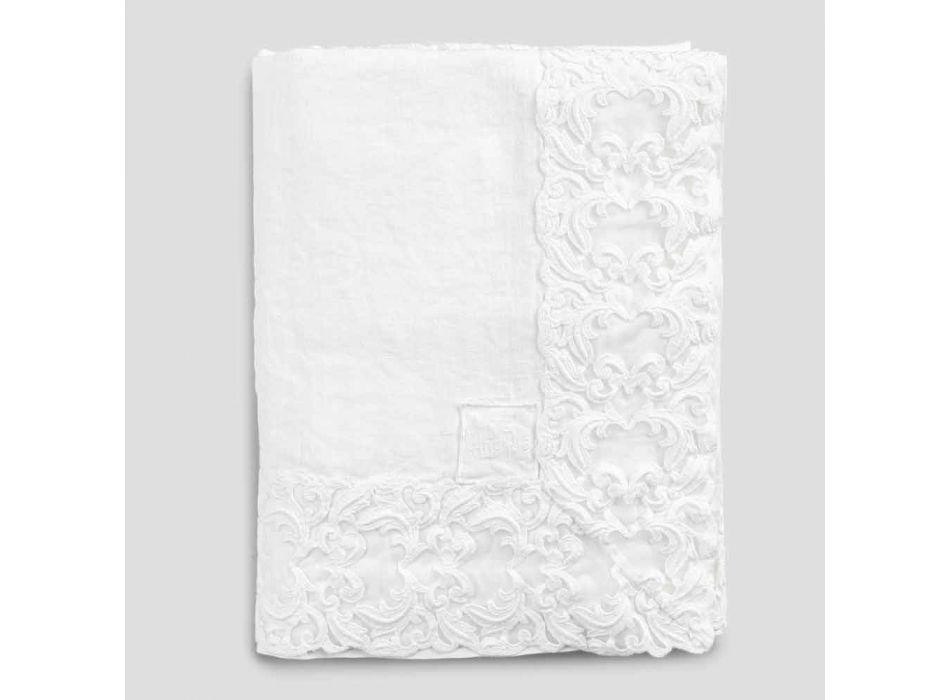 Biały lniany lub maślany obrus z prostokątnym wzorem Farnese Lace - Kippel