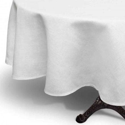 Okrągły biały lniany obrus wykonany ręcznie we Włoszech - Blessy