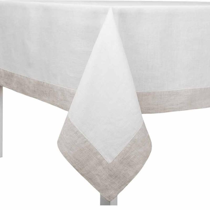 Biały i naturalny obrus lniany, prostokątny lub kwadratowy Made in Italy - Poppy