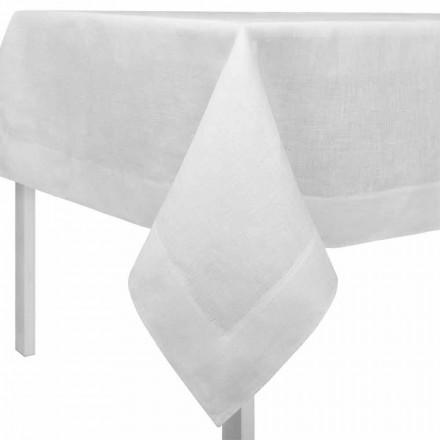 Prostokątny lub kwadratowy kremowy biały lniany obrus Made in Italy - Poppy