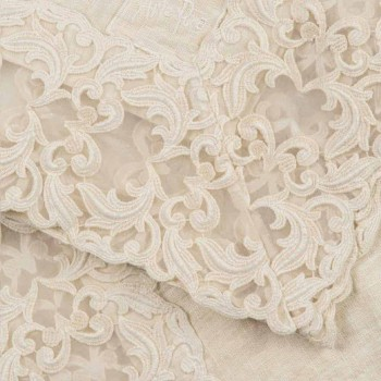 Beżowy lniany kwadratowy obrus z ręcznie wykonaną luksusową koronką Farnese - Kippel