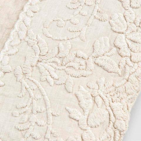 Beżowy Lniany Obrus Kwadratowy z Ręcznie Wykonanym Luksusowym Haftem Płatków - Vippel