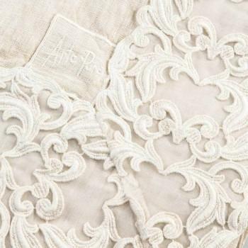 Beżowy lniany prostokątny obrus z koronką Farnese Luxury Artisan - Kippel