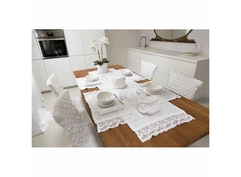 Podkładka z czystej białej lnu z ramką lub koronką Made in Italy - Davincino