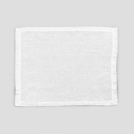 2 czysto białe lniane podkładki z brzegiem lub koronką, projekt Made in Italy - Davincino