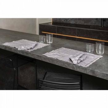 Amerykańskie podkładki śniadaniowe z szarej lnu z kryształkami 2 sztuki - Macanno