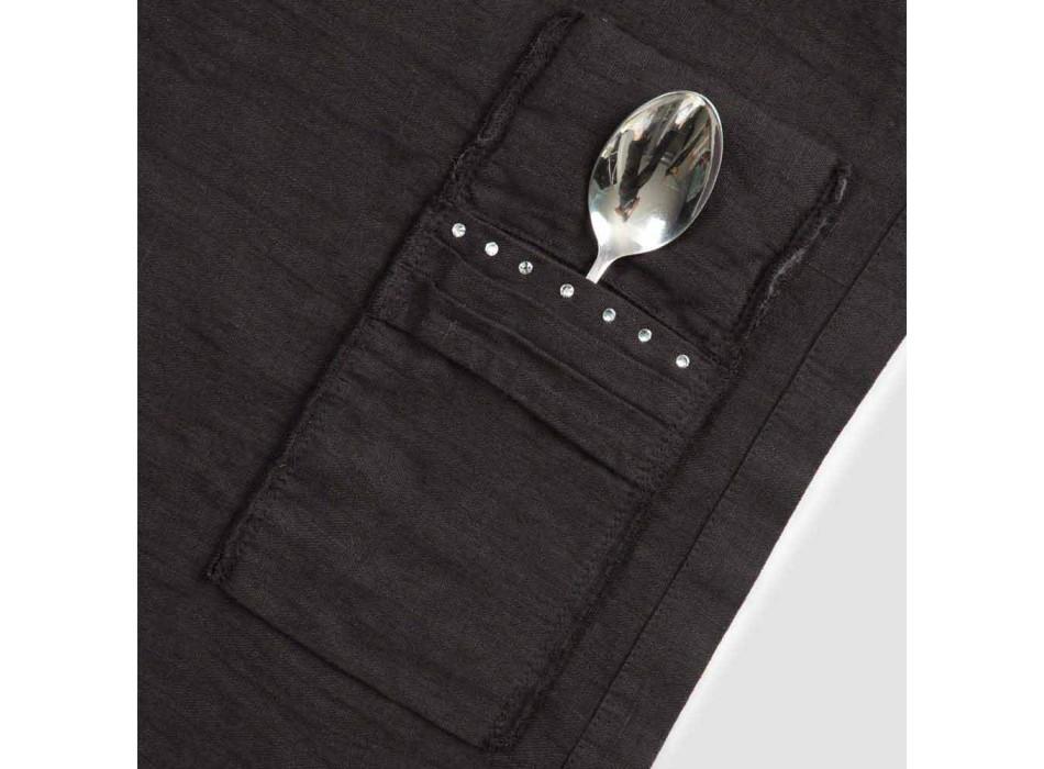 Amerykańskie podkładki i tace na sztućce z kryształkami z czarnej lnu, 4 sztuki - Nabuko