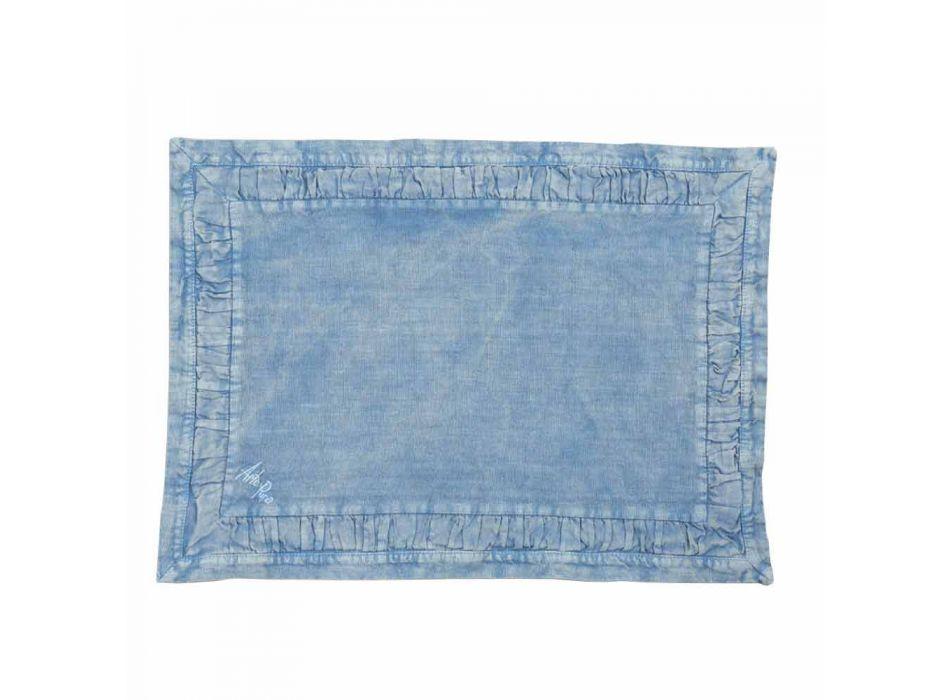 Amerykańskie podkładki z niebieskiego lnu lub z tyłu z tłoczeniem, 2 sztuki - Milone