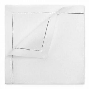 Serwetka lniana w czystej bieli lub naturalnej bieli Made in Italy - Chiana