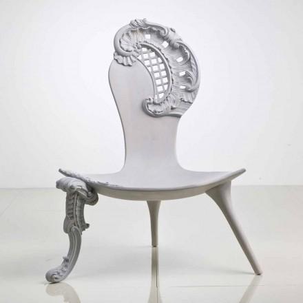 Krzesło/tron z solidnego drewna dębowego, szare model Leon