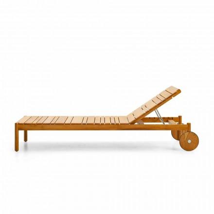Varaschin Barcode leżak ogrodowy na kółkach z drewan tekowego