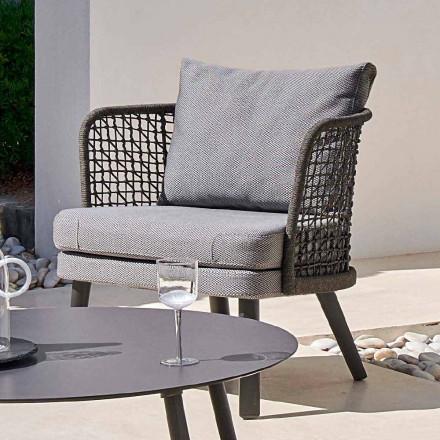 Zewnętrzny fotel tapicerowany z metalu i tkaniny Emma od Varaschin