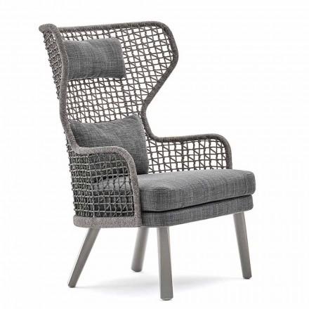 Nowoczesny fotel zewnętrzny z zagłówkiem z tkaniny Emma od Varaschin