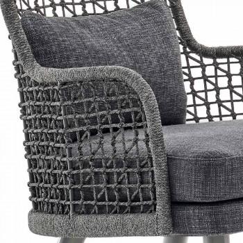 Nowoczesny fotel zewnętrzny Varaschin Emma z zagłówkiem z tkaniny