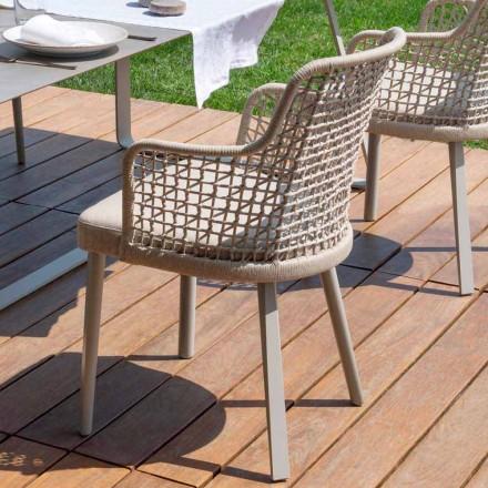 Nowoczesny fotel na zewnątrz z tkaniny i aluminium, Emma od Varaschin