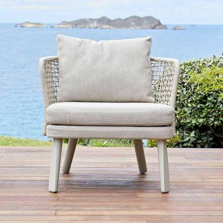 Fotel ogrodowy tapicerowany tkaniną i metalem Emma od Varaschin