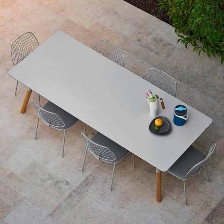 Varaschin Link stół rozkładany z nogami drewnianymi, wysokość 75 cm