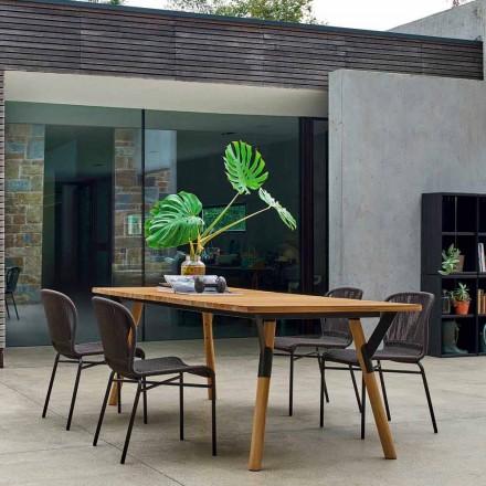 Varaschin Link stół ogrodowy z drewnianymi nogami, wysokość 65 cm