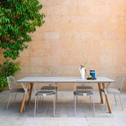 Varaschin Link stół ogrodowy z drewnianymi nogami, wysokość 75 cm