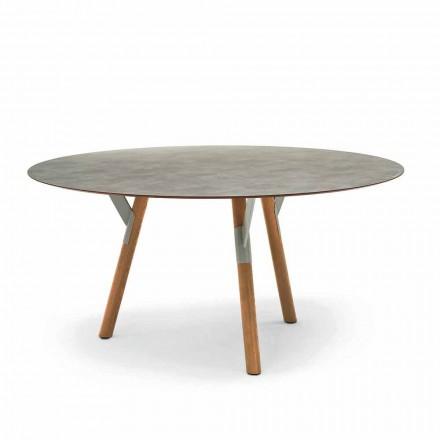 Varaschin Link stół okrągły z drewnianymi nogami, wys. 75 cm