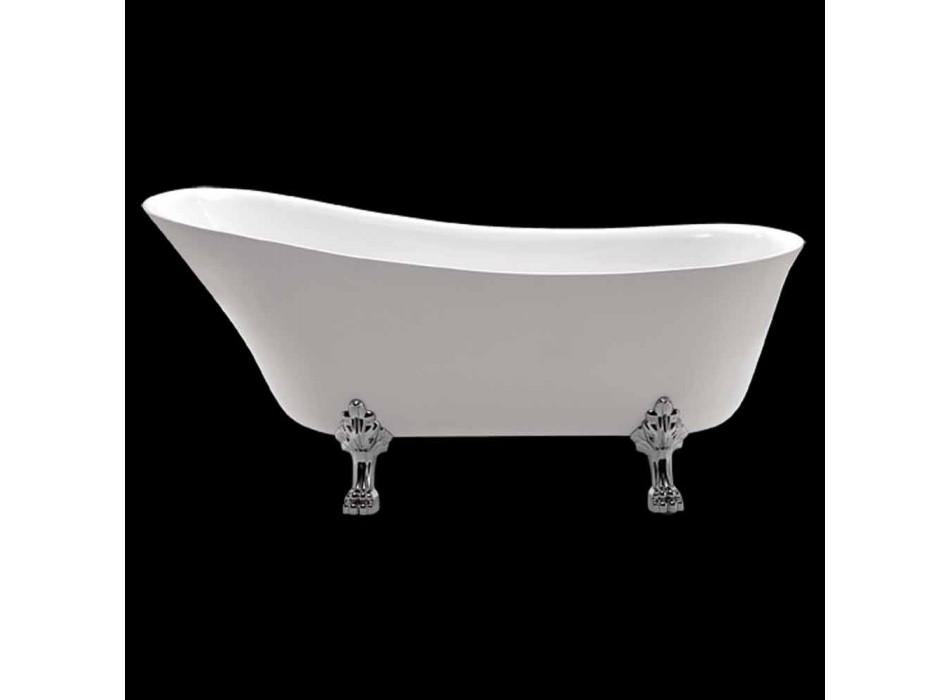 Biała wolnostojąca wanna o wymiarach 1700 x 720 mm z białego akrylu