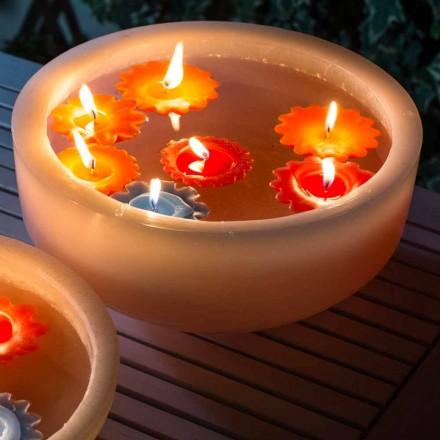 Okrągła woskowana wanna z kolorowymi pływającymi świecami Made in Italy - Utina
