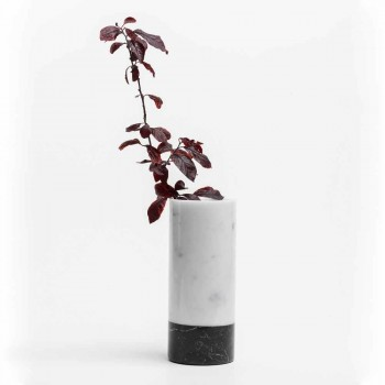 Cylindryczny wazon dekoracyjny z marmuru z Carrary i Marquinia Made in Italy - Emory
