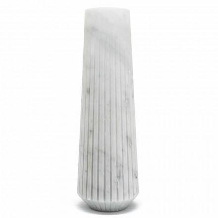 Nowoczesna biała dekoracyjna waza z marmuru z Carrary Made in Italy - Cairo