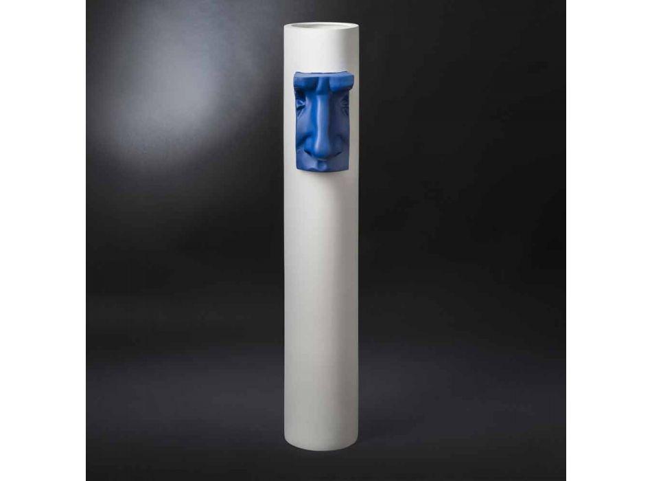 Biały ceramiczny wazon z kolorową wkładką Ręcznie robiony we Włoszech - Monte