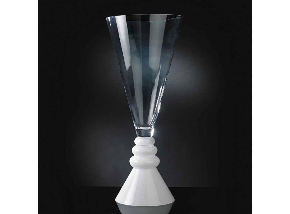 Biały i przezroczysty szklany wazon na kwiaty Made in Italy - Aramis