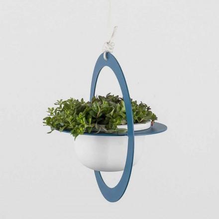 Wiszący wazon na kwiaty ze stali i ceramiki Made in Italy - Leotta
