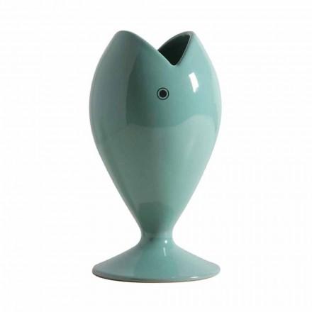 Nowoczesny ceramiczny wazon na kwiaty, wykonany we Włoszech - leszcz morski