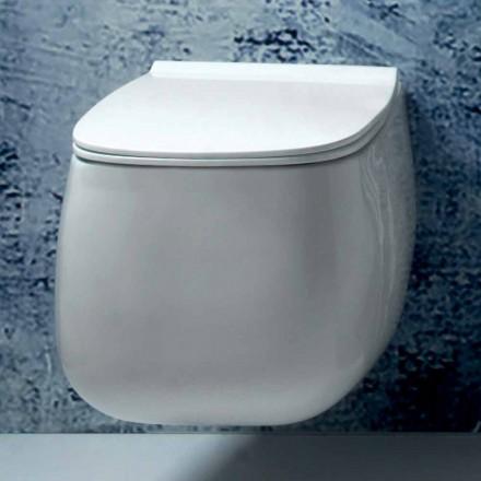 Nowoczesny, biały ceramiczny wazon zawieszany Gaiola, wyprodukowany we Włoszech