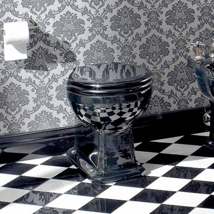 Wc Klasyczny wazon podłogowy z czarnej ceramiki z siedziskiem, wyprodukowany we Włoszech - Marwa