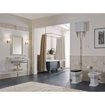 Biały ceramiczny wazon podłogowy z czarnym siedziskiem Made in Italy - Nausica