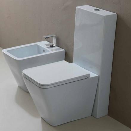 Nowoczesny, biały ceramiczny WC Sun Square, wykonany we Włoszech