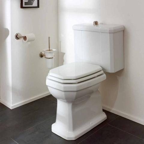 Biały ceramiczny słoik toaletowy z kasetą, wyprodukowany we Włoszech - Nausica