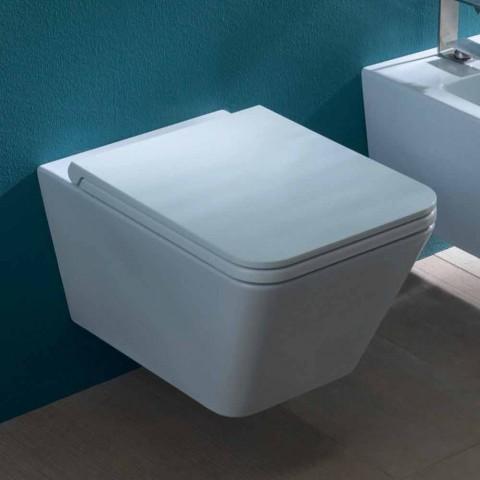 Ceramiczna toaleta naścienna, nowoczesny design, Sun Square wykonany we Włoszech