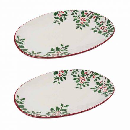 Świąteczna taca lub owalny talerz do serwowania z porcelany 2 sztuki - Pungitopo