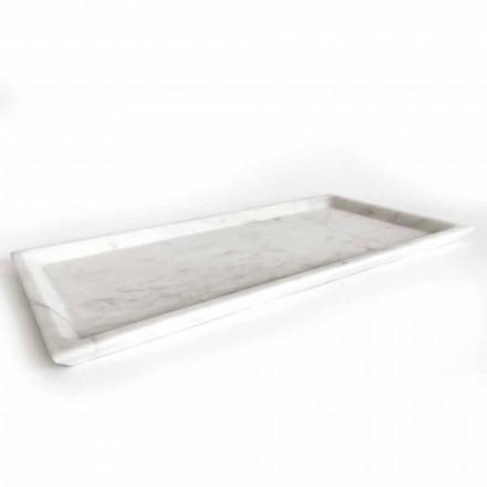Prostokątna taca z polerowanego białego marmuru z Carrary Made in Italy - Alga