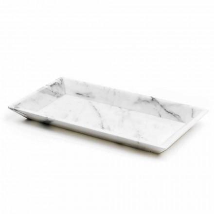 Prostokątna taca z białego marmuru z Carrary Made in Italy - Vassili