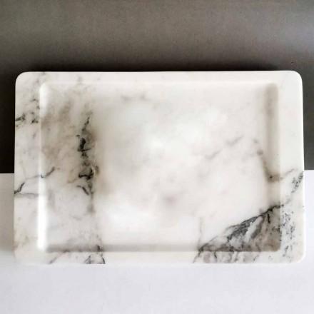 Prostokątna taca z nowoczesnego białego marmuru z żyłkami Made in Italy - Stora