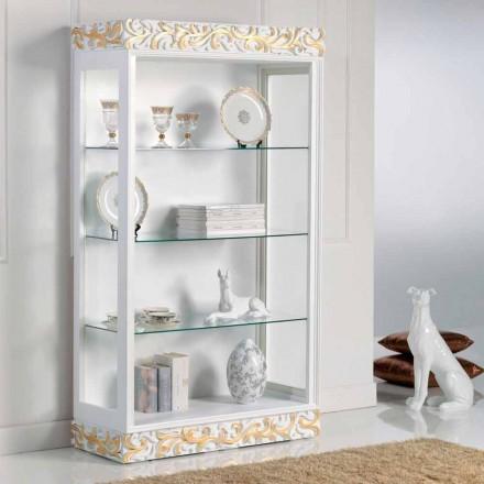 Gablota drewniana design z 3 półkami szklanymi Kush, made in Italy