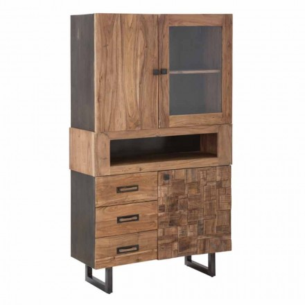 Nowoczesna witryna z szufladami i drzwiami, żelazo, szkło i drewno akacjowe - Dianna