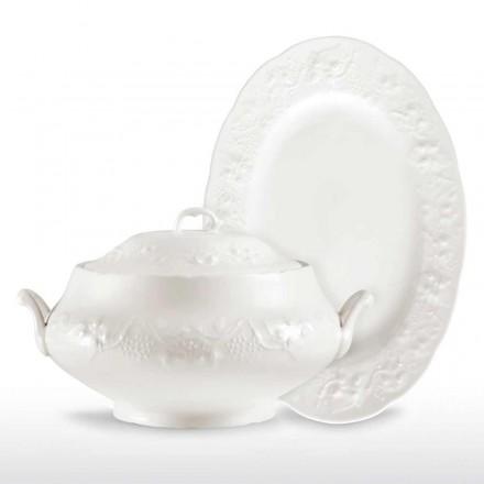 Duży tureen i taca z białej porcelany - Gimignano